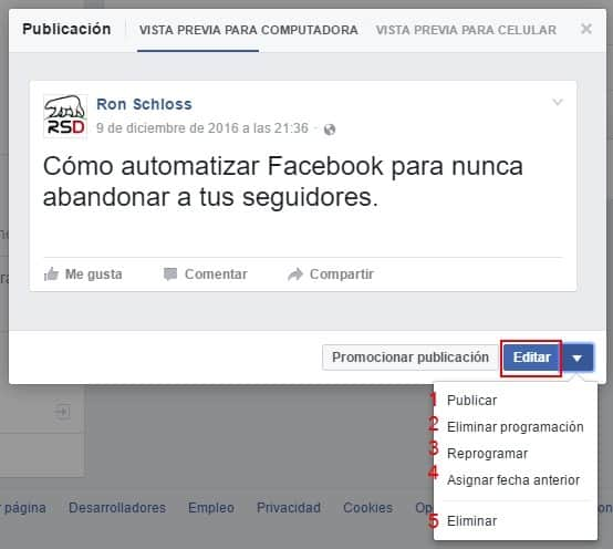 Automatizar Facebook - Alternativas de accion